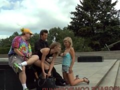Berlin Tourists Gawk At Nude Horny Slut