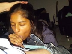 Indian teen Ayleen takes her very first facial (Blowjob, Facial)