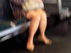 Cautious asian legs on the train