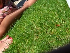 Candid Feet Pantyhose Nylon and Bare in the Park