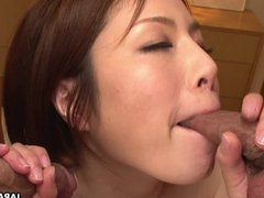 Slutty wife has a threesome with the randy bo
