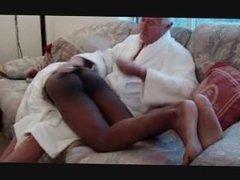 White man spanks black boy