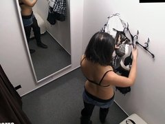 Young Girl Fitting Bra in Shopping Mall