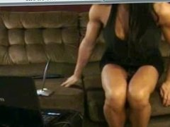 brunette with implants strips and flexes big guns