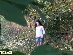 Skirt girl on a hike pees in the woods