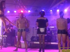 Master Fatty and slaves BDSM show on stage