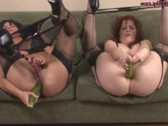 MILF Lesbians at SEXDATEMILF.COM Jamming Huge Cucumbers up Their Anal Holes