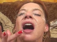 Red Head Unhappy Eating Face Full of Cum