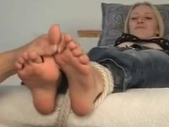 cute blonde tickle