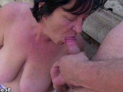 Grandma Seduce to Fuck outdoor by Stranger