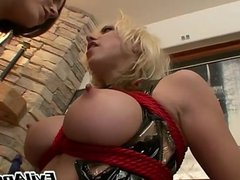 blond licks brunette ass with passion