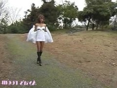 Aya wears dress incorrectly then changes into fetish gear at park