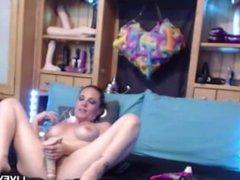 Awesome Holly masturbating with a thick baseball bat