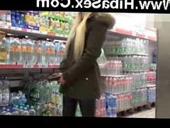 German blonde getting fucked at a supermarket