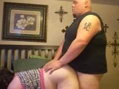 chubby couple fuck on the bed