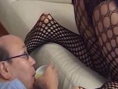 Young Asian girl face farts old man