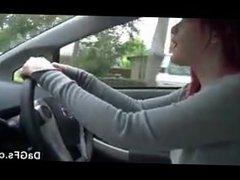 redhead masturbates driving