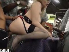 boss Christie Stevens in a gangbang with workers