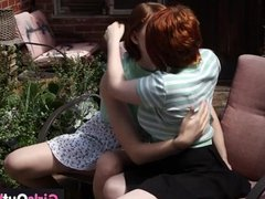 Lesbian redheads lick and finger hairy cunts