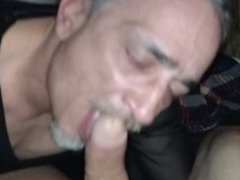 My leather sissy faggot swallowing my huge cock