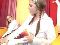 Lesbian schoolgirls foot worship
