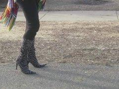 modeling my donald Pliner zebra boots