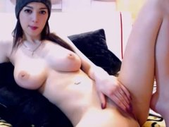 Young babe with massive big natural boobs shaved pussy