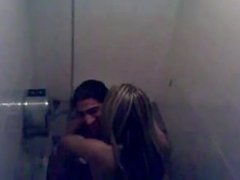 Young couple gets caught fucking in a public bathroom