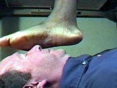 BIG ebony feet face trample