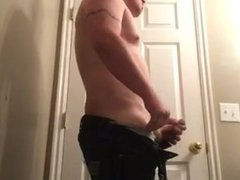 Jack off, tight shaved asshole and cumshot in mouth