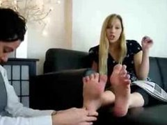 Princess Rene forces footslut to worship Her