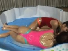 Bikini Oil Massage Tickle Fight - Oil Tournament