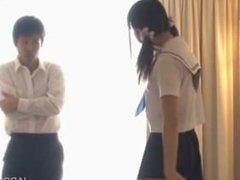 Let 3P black hair Pretty schoolgirl with cute face