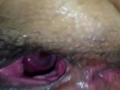 Gaping black pussy hole