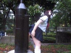 Amateur Japanese Teen CD outdoor dildo