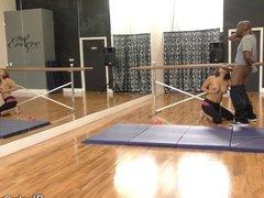 Posh MILF Eva Angelina takes BBC in her own dance studio