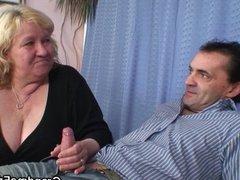 Huge old grandma swallows two cocks
