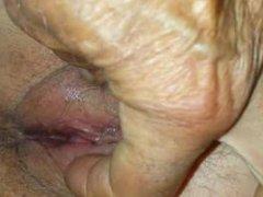 Grandpa Teasing granny's pussy - closeup