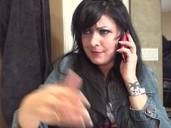 Michelle Vince yawning on the phone