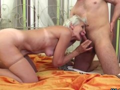Grandma having sex with a young stud