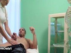 Blonde nurse got cumshot on her ass