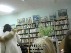 two girls nude in library (2)