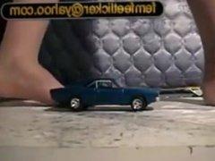 Giantess Crushing Model Cars Barefeet