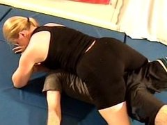 Blonde grapples him down