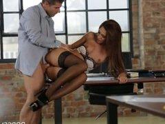 Alexis Brill secretary in stockings