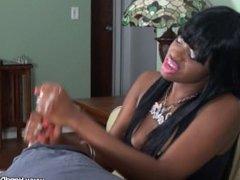 Chanel Maddison the sadistic ebony mistress milks her slave with thickhands