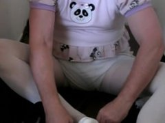 diapered sissybaby peeing in pantyhose and double diapered