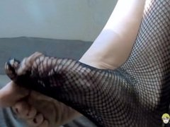 My Fishnet Stockings and Shoe Dangle Foot Fetish Video