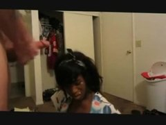 Beautiful ebony teen takes a facial