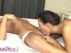 Intimate lesbian couple kissing